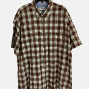 Orvis Cotton Plaid Shirt Button Front 2X